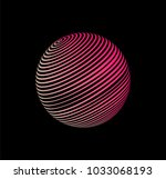 pinky neon hollow sphere... | Shutterstock .eps vector #1033068193