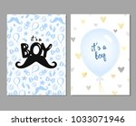 vector set of blue baby shower... | Shutterstock .eps vector #1033071946