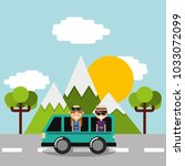 couple tourist vacations in car ... | Shutterstock .eps vector #1033072099