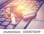 online learning or e learning...   Shutterstock . vector #1033073659
