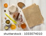 healthy food on wooden table...   Shutterstock . vector #1033074010