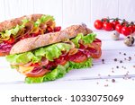 preparing a crusty fresh... | Shutterstock . vector #1033075069