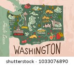 cartoon map of washington state.... | Shutterstock .eps vector #1033076890