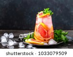grapefruit and fresh mint... | Shutterstock . vector #1033079509