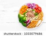 buddha bowl dish with chicken... | Shutterstock . vector #1033079686