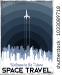 vector space travel poster.... | Shutterstock .eps vector #1033089718