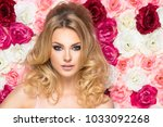 beauty happy model girl with... | Shutterstock . vector #1033092268