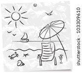 Strand comic schwarz weiß  Sketch Beach Stock Vector (Royalty Free) 103309610 - Shutterstock