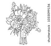 hand drawn bridal bouquet....   Shutterstock .eps vector #1033099156