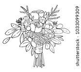 hand drawn bridal bouquet.... | Shutterstock .eps vector #1033099309
