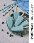 blue ice cream pops with... | Shutterstock . vector #1033100344