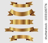 set of golden ribbons vector.   Shutterstock .eps vector #1033100776