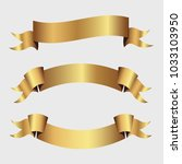 set of golden ribbons vector. | Shutterstock .eps vector #1033103950