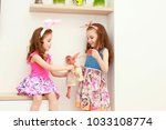 portrait of little girls in... | Shutterstock . vector #1033108774