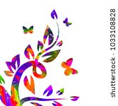 multicolored flower abstraction ... | Shutterstock .eps vector #1033108828
