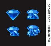 set blue diamonds game asset | Shutterstock .eps vector #1033109290