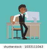 the manager speaks on the phone ...   Shutterstock .eps vector #1033111063