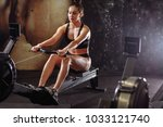 caucasian woman doing exercises ... | Shutterstock . vector #1033121740