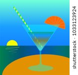 a glass of cocktail with a... | Shutterstock .eps vector #1033123924