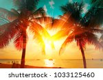 sunset beach with palm trees... | Shutterstock . vector #1033125460