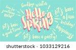 hello spring banner. trendy... | Shutterstock .eps vector #1033129216