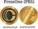 set of physical golden coin... | Shutterstock .eps vector #1033132330
