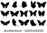 black butterfly  isolated on a... | Shutterstock .eps vector #1033133320