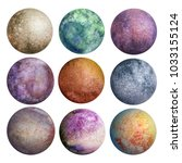 set of watercolor colorful... | Shutterstock . vector #1033155124