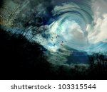 Surrealistic scene with trees, birds, and swirling clouds - stock photo