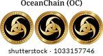 set of physical golden coin... | Shutterstock .eps vector #1033157746
