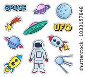 patches cute set with space... | Shutterstock .eps vector #1033157848