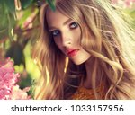 beautiful spring   model girl   ... | Shutterstock . vector #1033157956