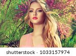 beautiful spring   model girl   ... | Shutterstock . vector #1033157974