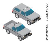 isometric pickup and suv car... | Shutterstock .eps vector #1033159720