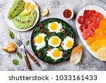 green shakshuka with spinach ...   Shutterstock . vector #1033161433
