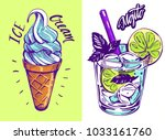 ice cream and cocktail mojito.... | Shutterstock .eps vector #1033161760