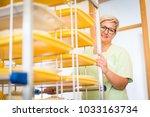 nurse bringing food service | Shutterstock . vector #1033163734