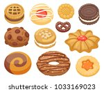 cookie vector cakes top view... | Shutterstock .eps vector #1033169023