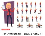 set of office woman worker... | Shutterstock .eps vector #1033173574