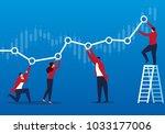 businessmen keep the chart... | Shutterstock .eps vector #1033177006