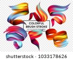 Set of colorful brush strokes. Modern design element. Vector illustration