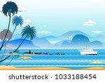 vector illustration seascape...   Shutterstock .eps vector #1033188454