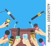 press conference. hands holding ... | Shutterstock .eps vector #1033197379