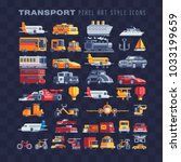 transport pixel art icons set...