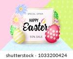easter eggs sale banner... | Shutterstock .eps vector #1033200424