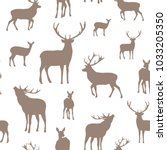deer seamless pattern.... | Shutterstock .eps vector #1033205350