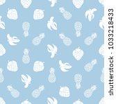 white fruit salad on light blue ... | Shutterstock . vector #1033218433