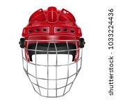 hockey red helmet on white eps... | Shutterstock .eps vector #1033224436