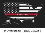 an american map thin red line... | Shutterstock .eps vector #1033226356