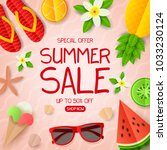 summer sale vector banner.... | Shutterstock .eps vector #1033230124